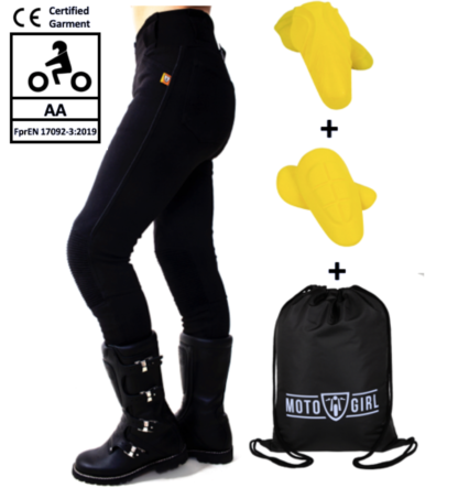 MotoGirl Zip Leggings - AA Rated with Hip Armour